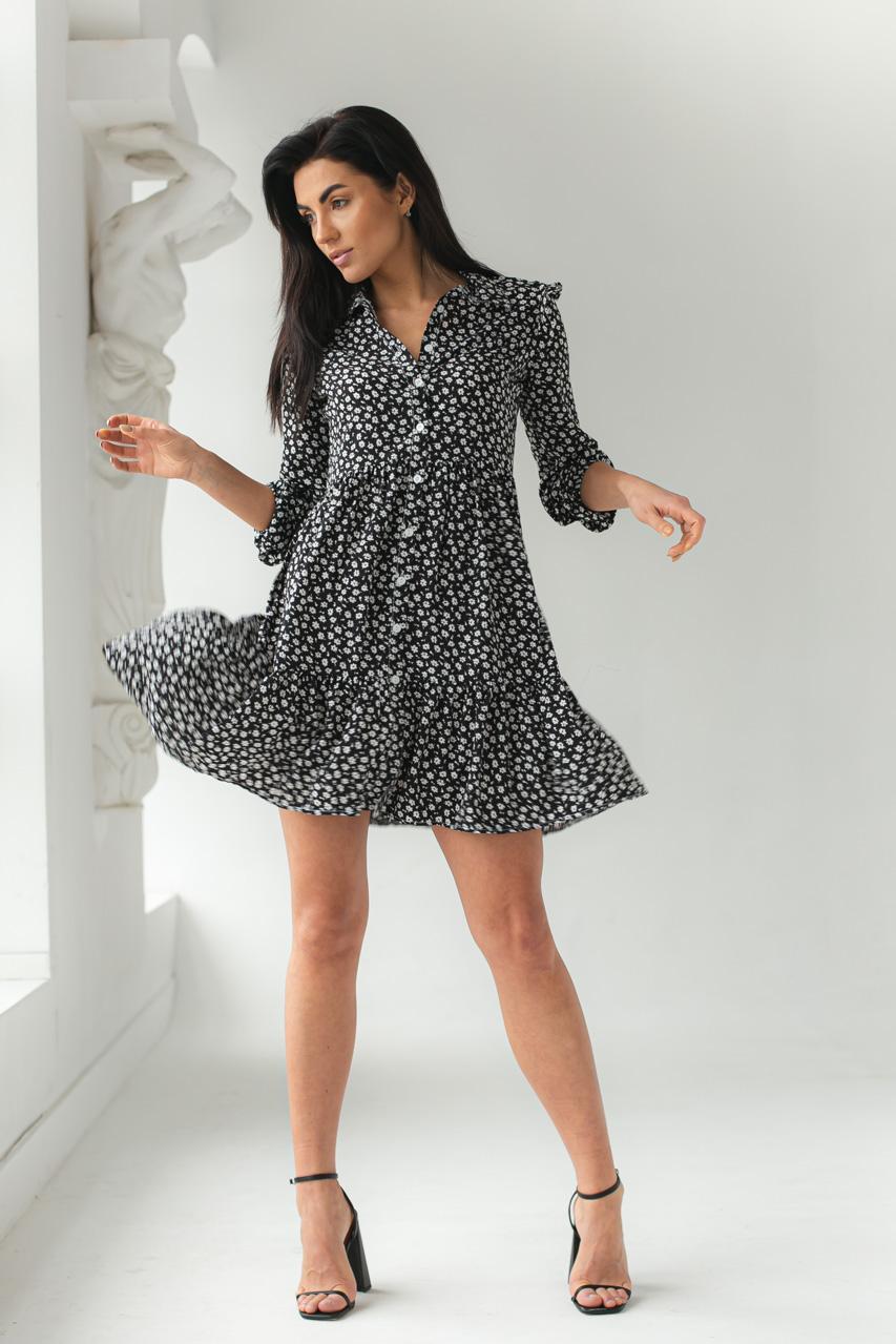 Платье на пуговицах с цветочным принтом GULSELI - черный цвет