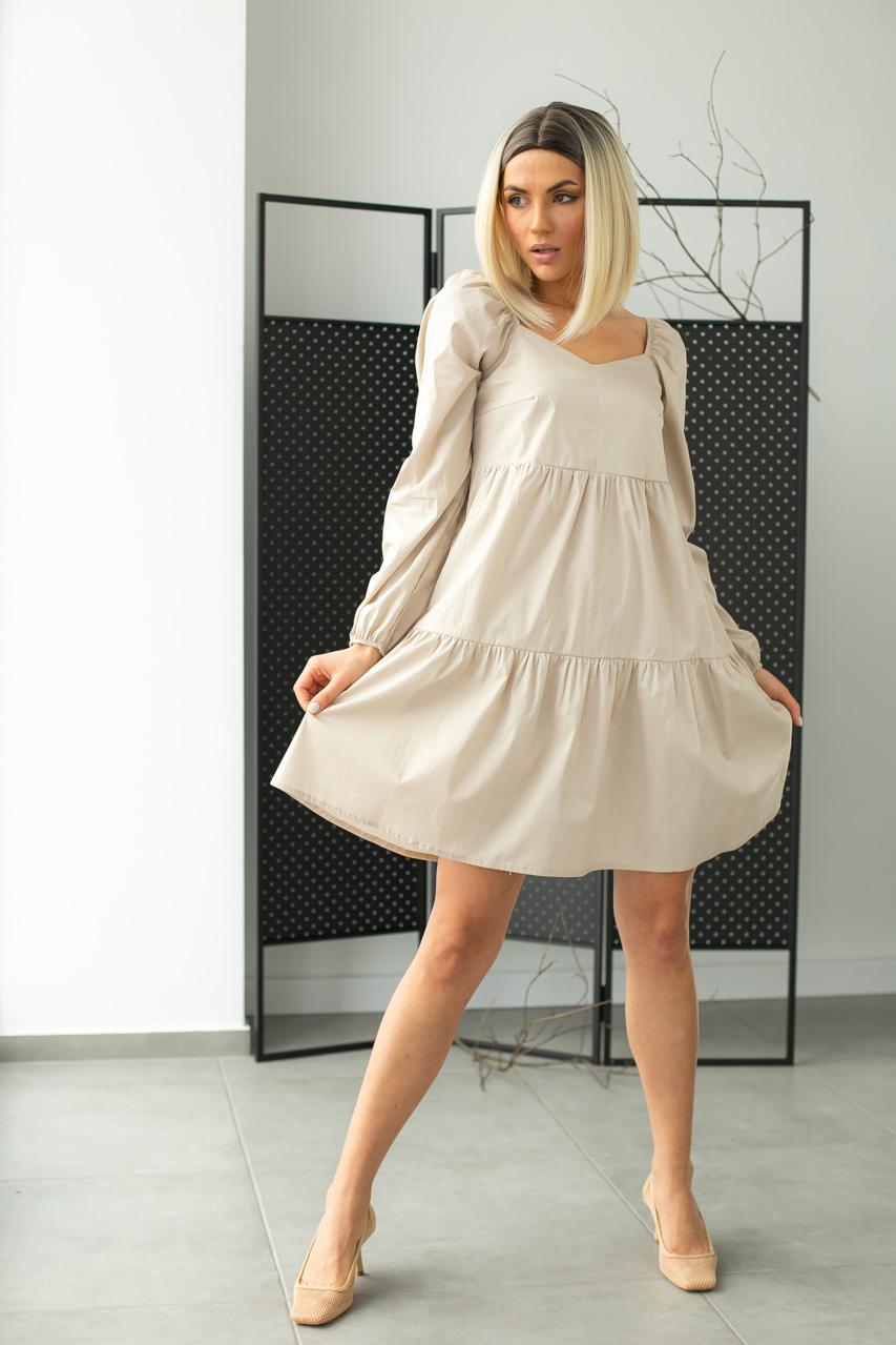 Коттоновое платье с завышенной линией талии LUREX - бежевый цвет