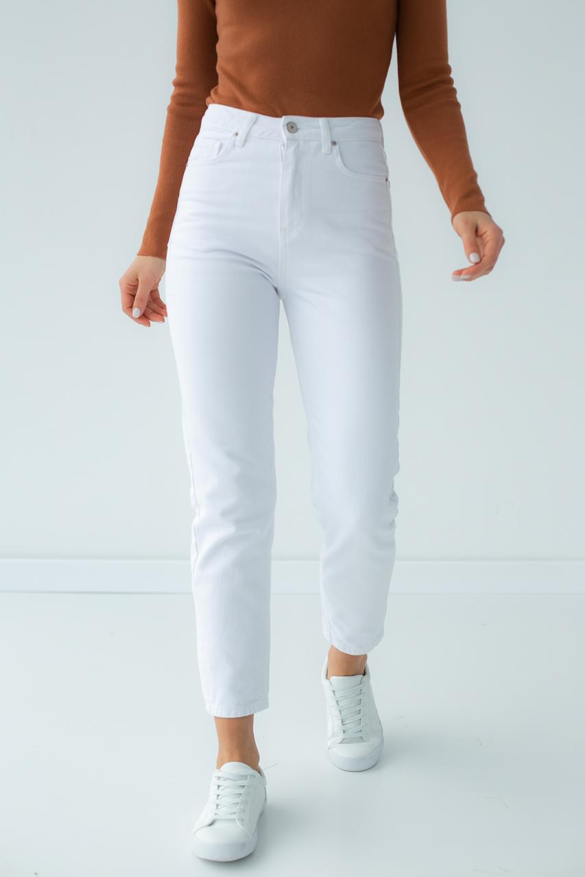 Однотонные джинсы мом Denim Palace - белый цвет