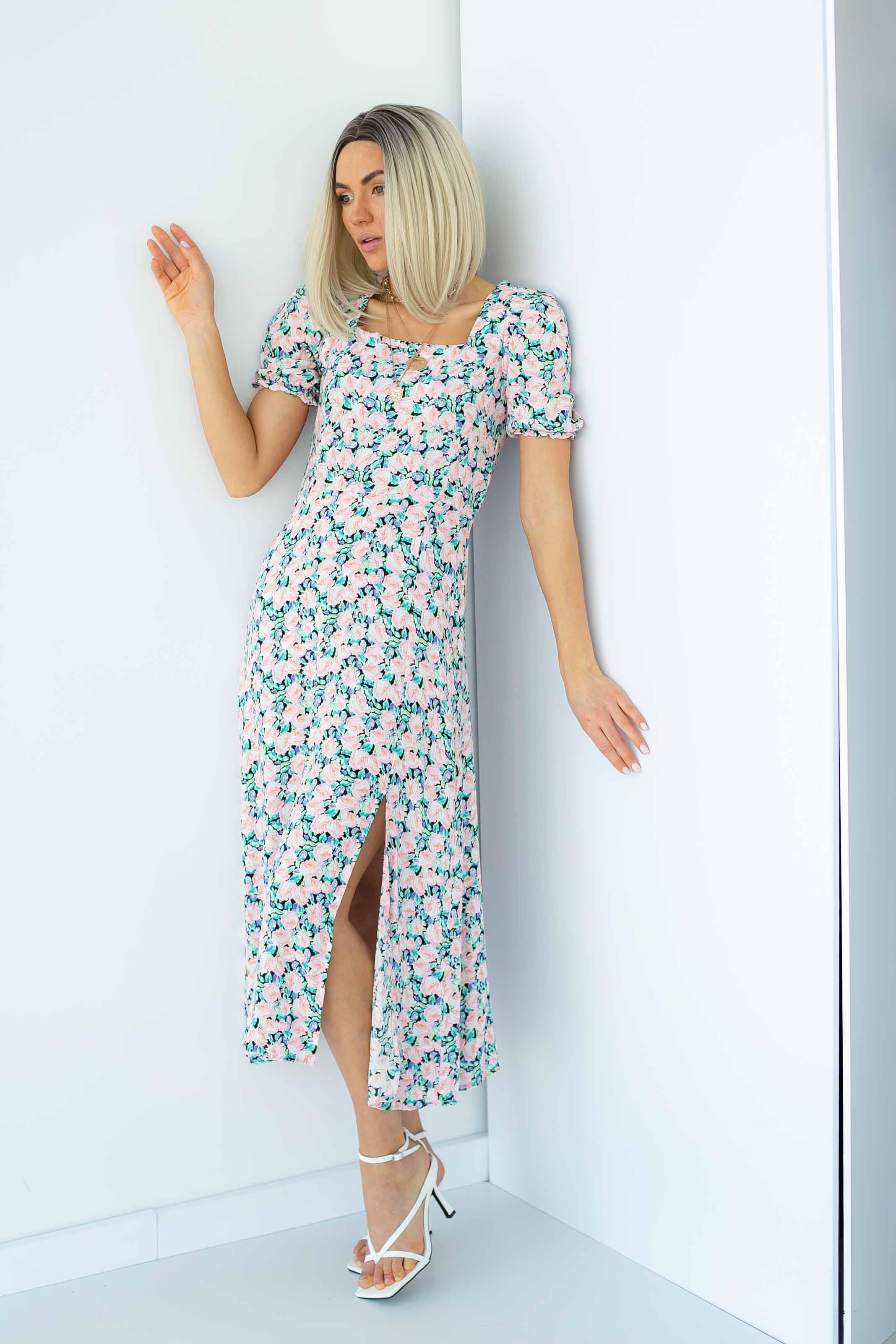 Длинное платье с квадратным вырезом и распоркой Barley - пудра цвет