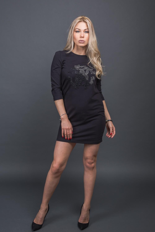 Модная туника с декором из бусин Free Still - черный цвет