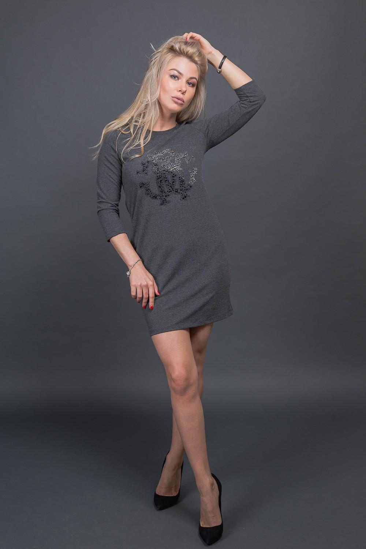 Модная туника с декором из бусин Free Still - темно-серый цвет