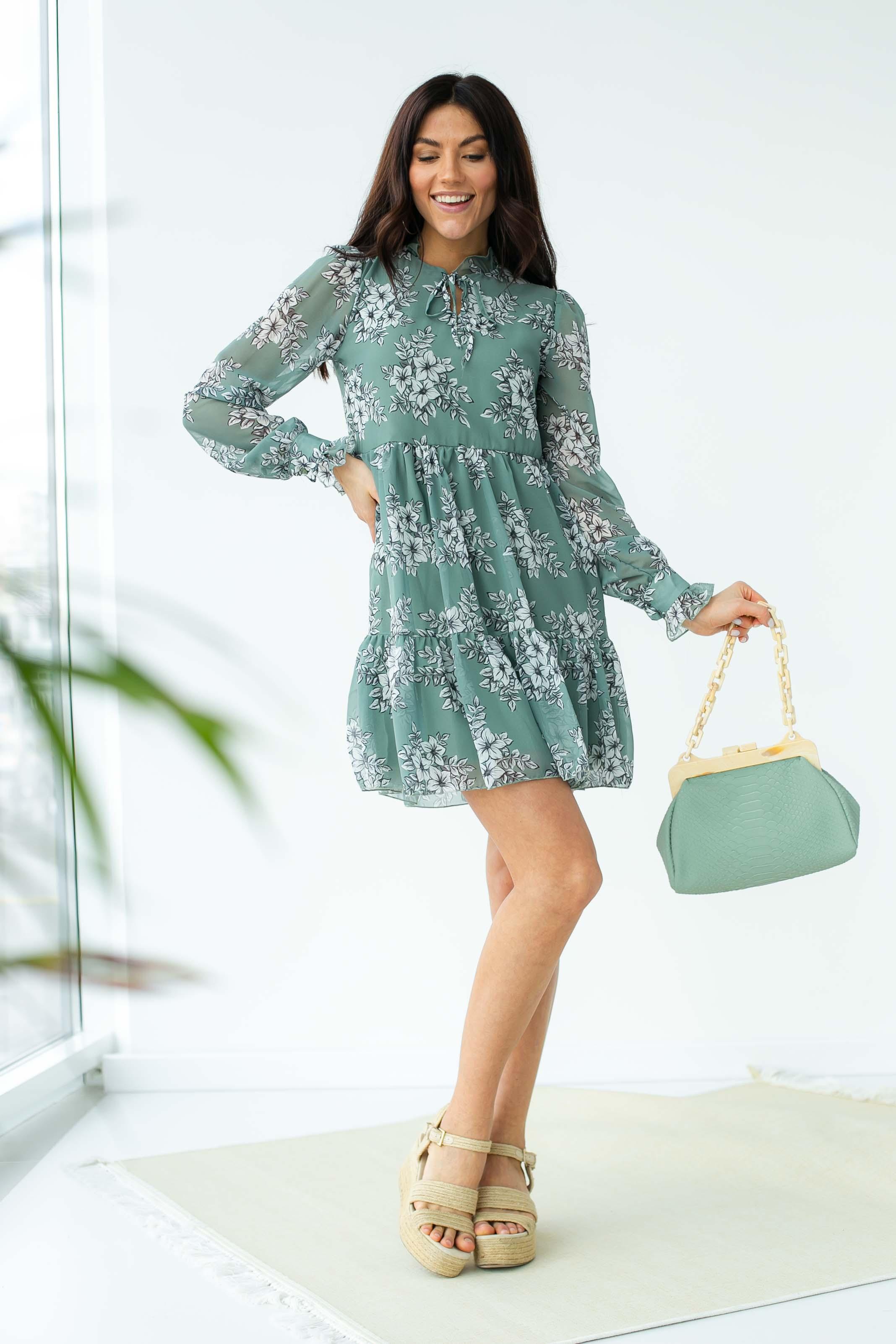 Шифоновое платье с завязками и рюшами Sensation Life  - мятный цвет