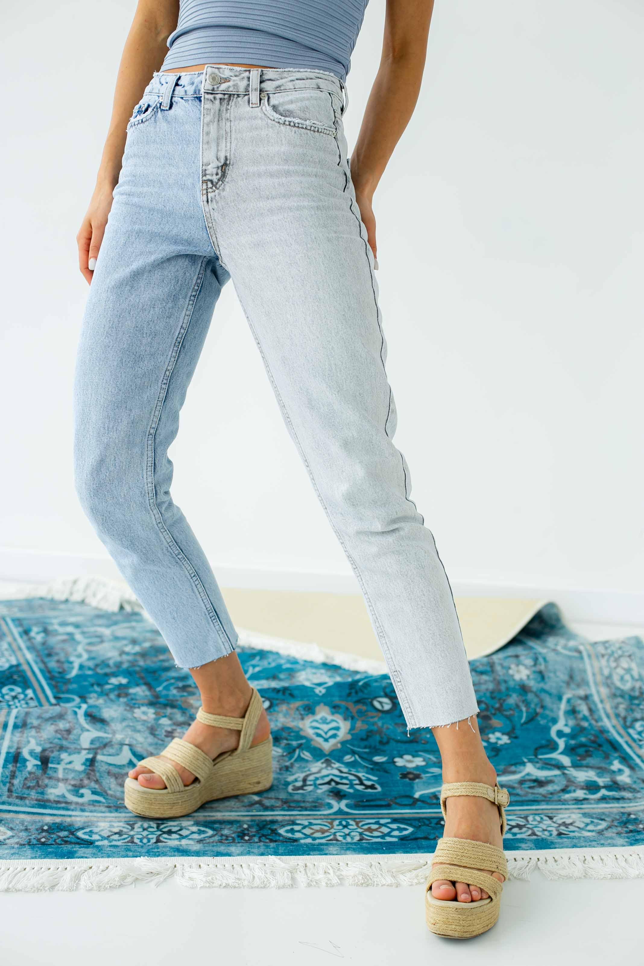 Двоколірні джинси з високою посадкою FAF - блакитний колір