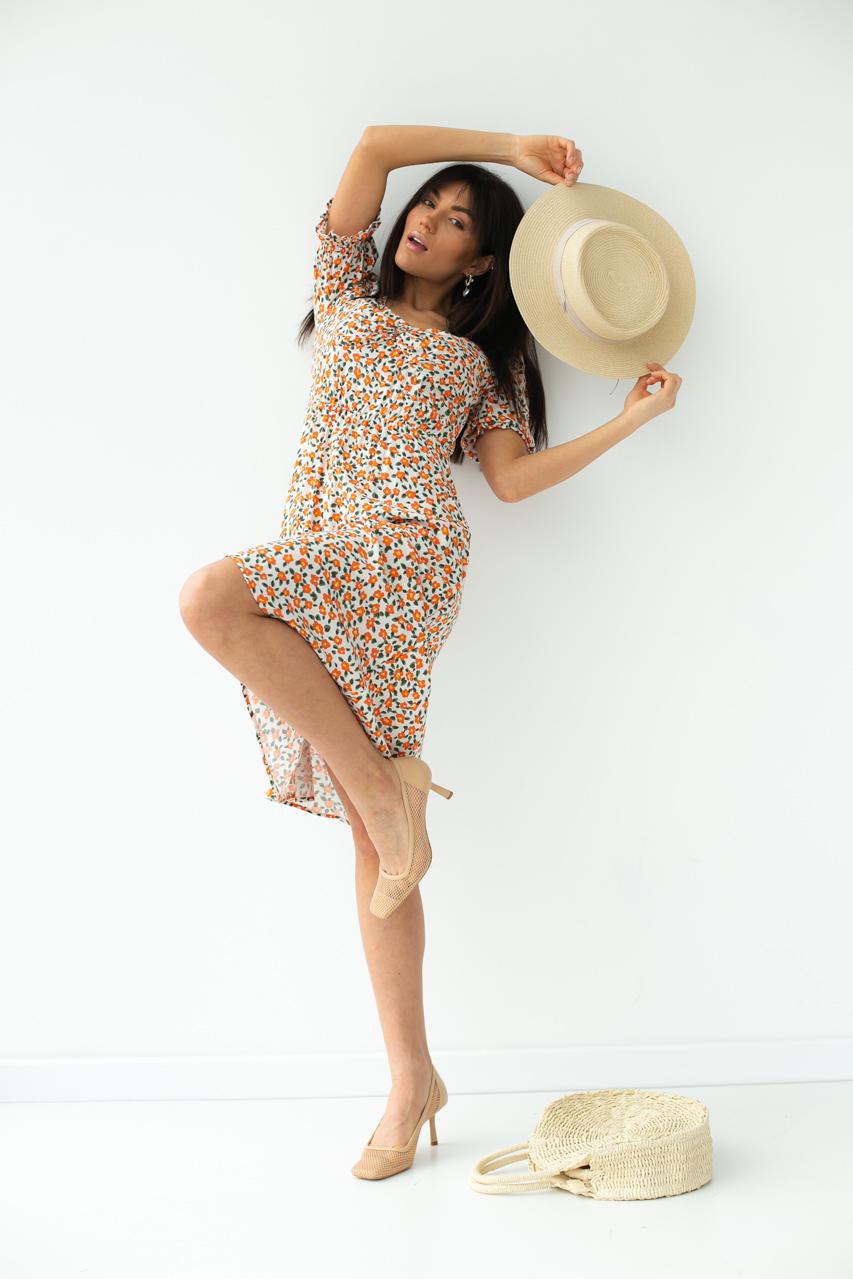 Цветочное платье-миди с короткими рукавами SHENAZ - терракотовый цвет