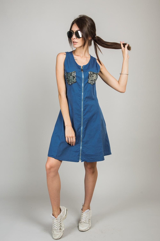 Сарафан в стиле милитари M collection - темно-синий цвет