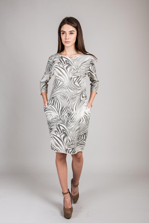 Женское платье с абстракцией LUREX - кремовый цвет