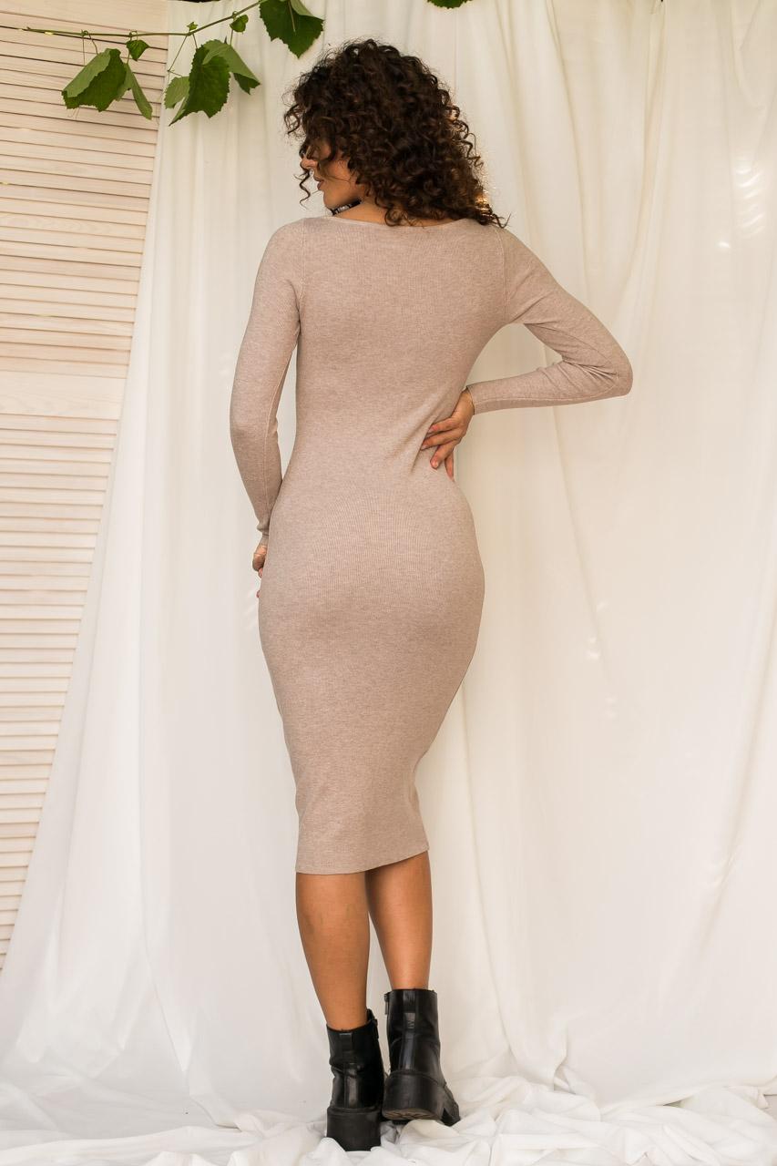 Соблазнительное облегающее платье M.B.21 - кофейный цвет