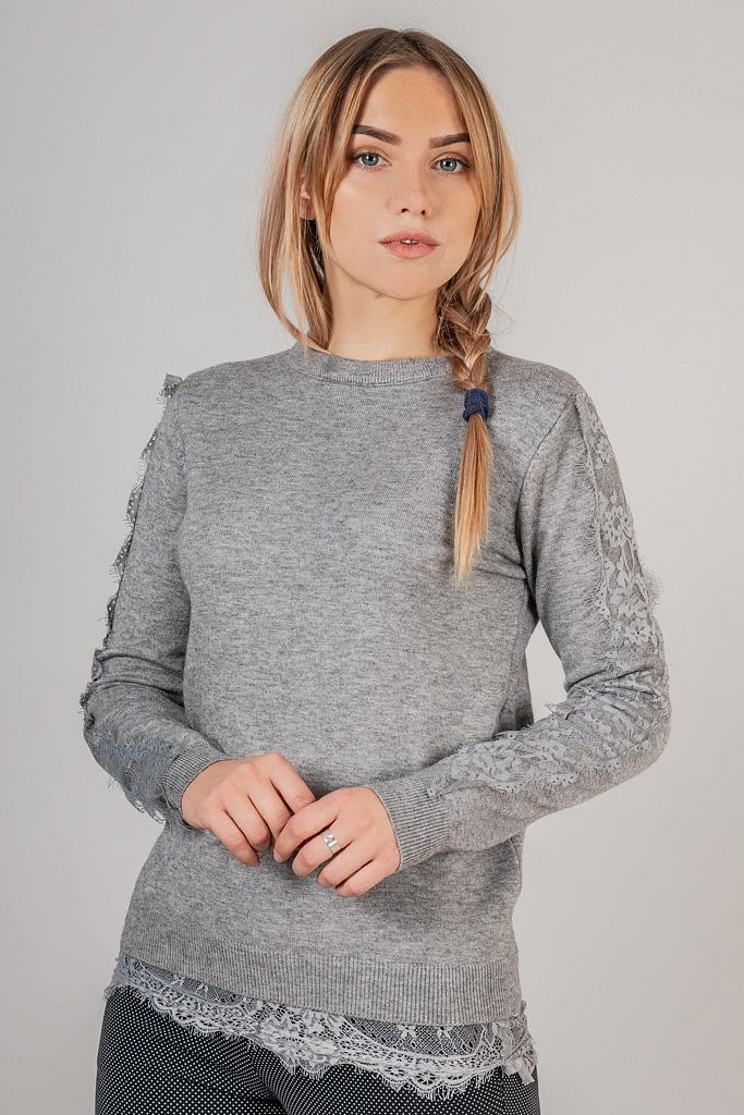 Кофта с кружевной тесьмой по рукаве LUREX - серый цвет