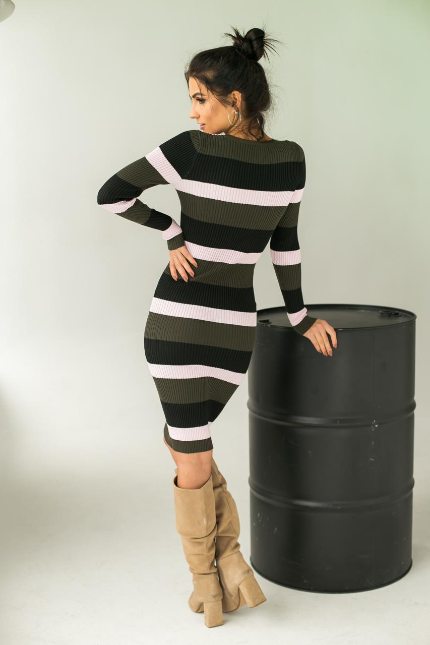 Полосатое платье вязки лапша LUREX - хаки цвет