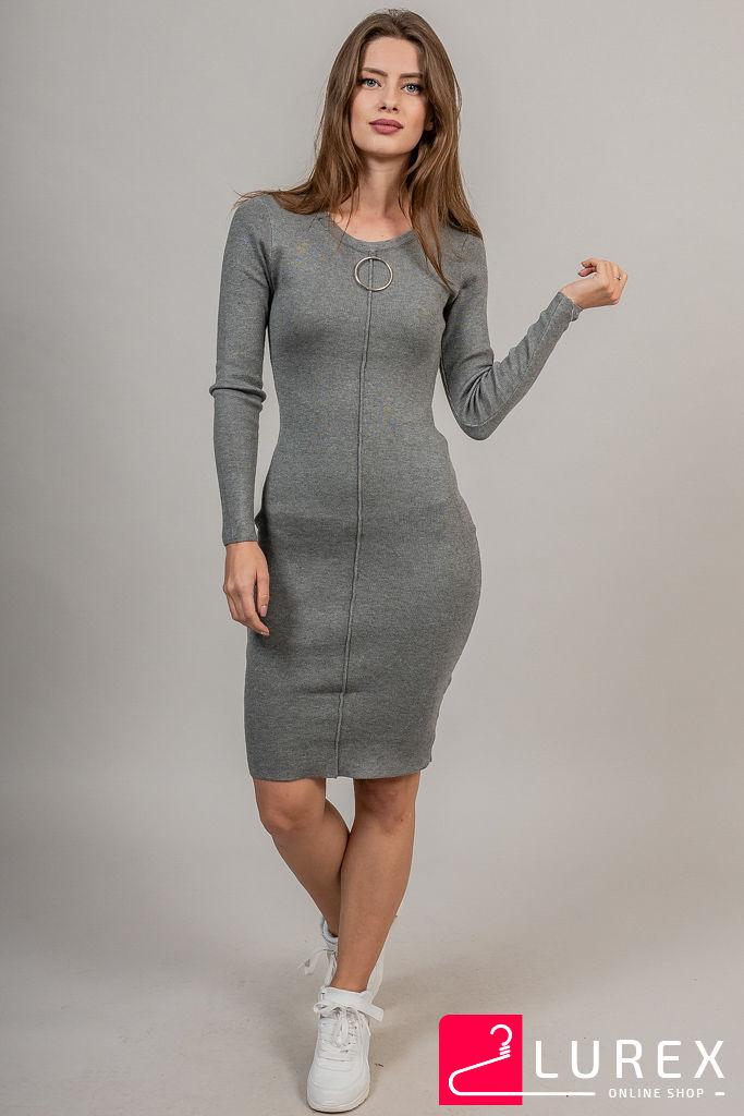 Облегающее платье с кольцом на декольте LUREX - серый цвет