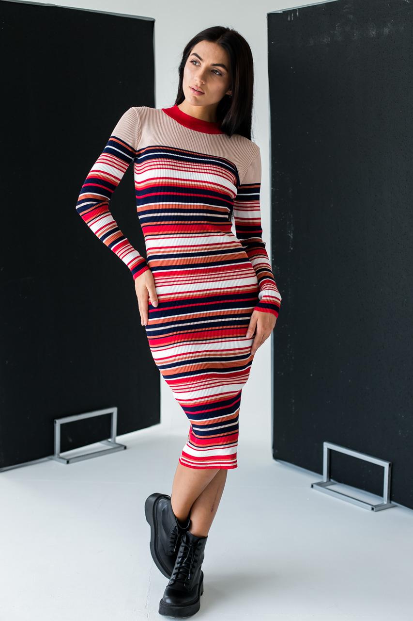 Платье лапша в цветную полоску LUREX - бежевый цвет