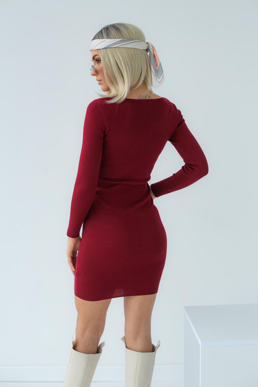 Платье с замком по диагонали LUREX - бордо цвет