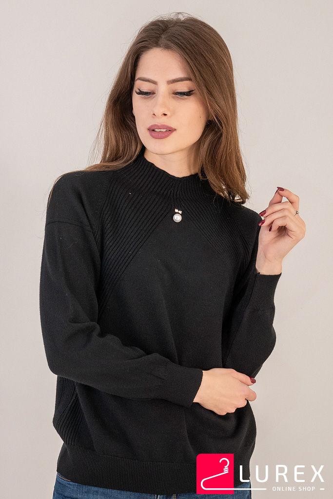 Гольф с вставками вязки лапша LUREX - черный цвет