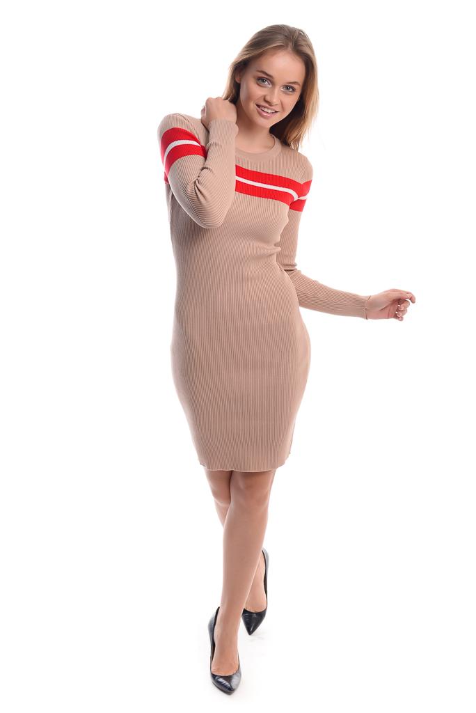 Облегающее платье с красной полоской LUREX - бежевый цвет
