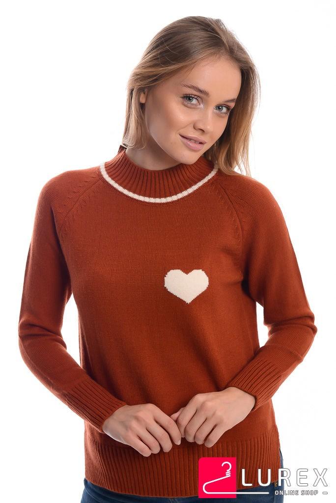Теплый реглан с сердечком слева LUREX - терракотовый цвет