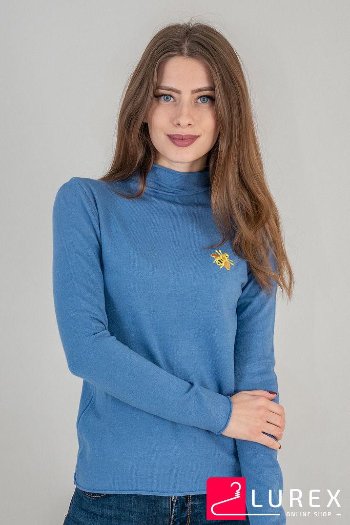 Гольф с воротником и нашивкой пчелкой LUREX - синий цвет