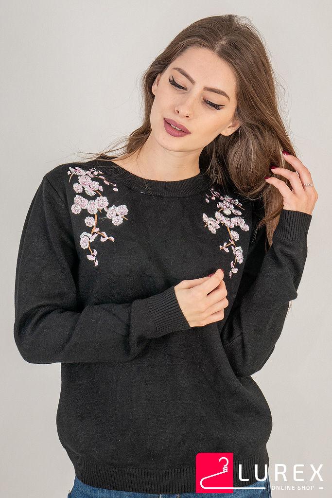 Кофта с цветочной вышивкой на воротнике LUREX - черный цвет