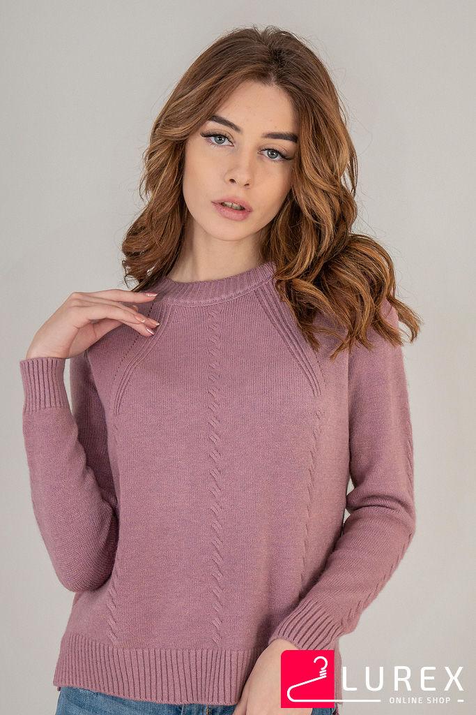 Реглан с тоненькими косичками по рукаву LUREX - розовый цвет