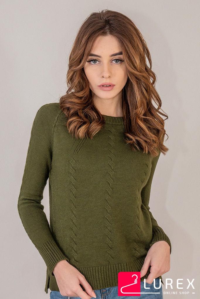 Реглан с тоненькими косичками по рукаву LUREX - темно-зеленый цвет