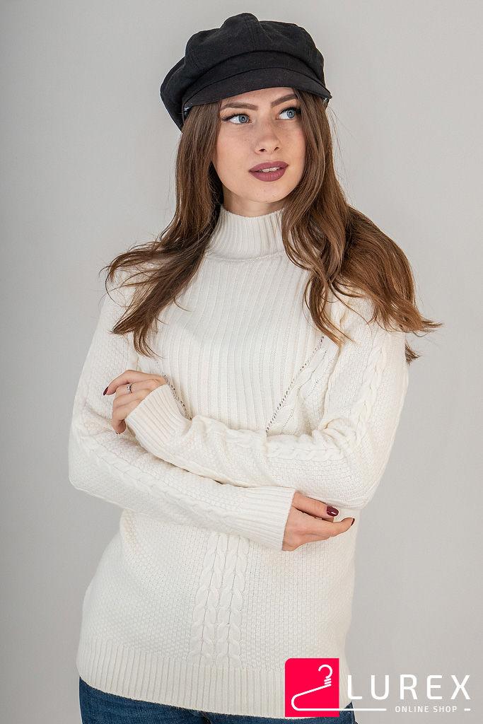 Теплая кофта комбинированной вязки LUREX - бежевый цвет