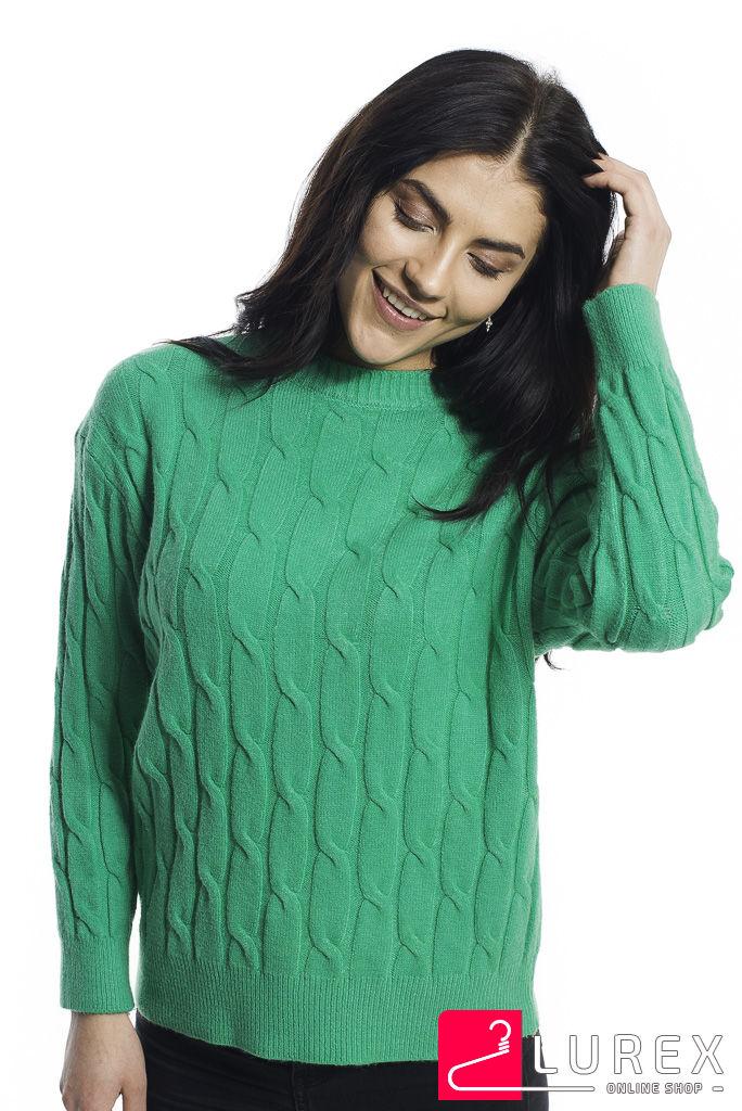Теплая кофта с крупной вязкой косички LUREX - зеленый цвет