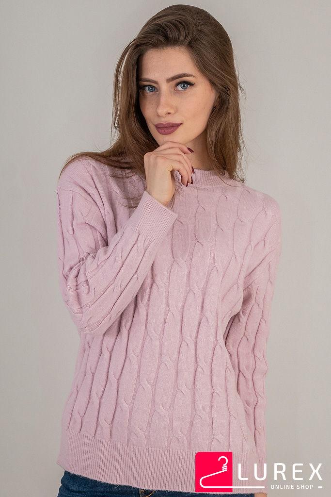 Теплая кофта с крупной вязкой косички LUREX - пудра цвет