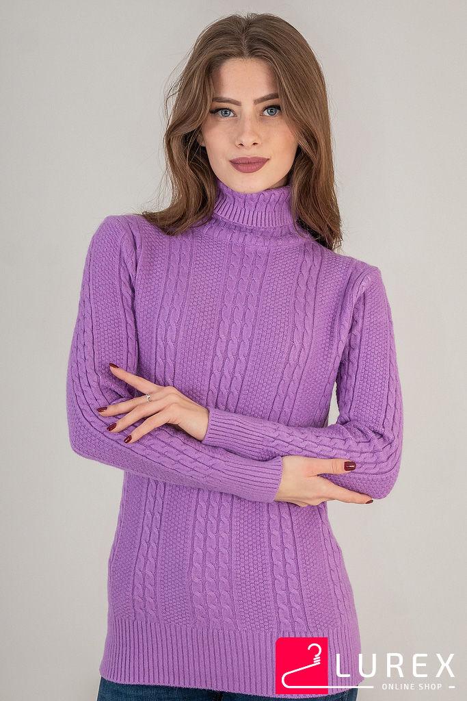 Теплый гольф с вязкой косичка LUREX - фиолетовый цвет
