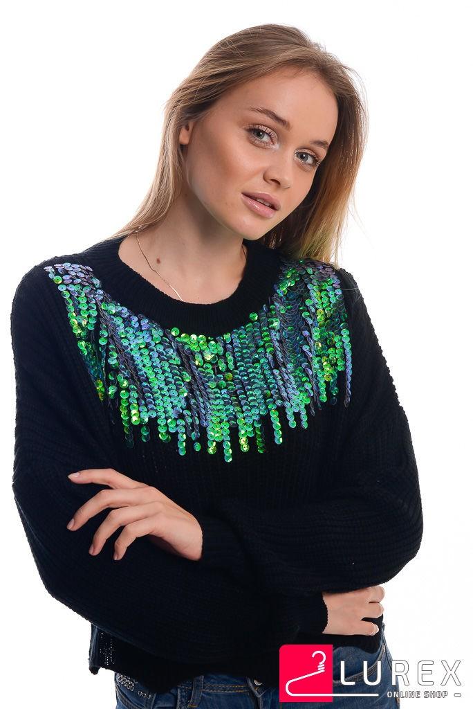 Кроп-свитер с радужными пайетками LUREX - черный цвет