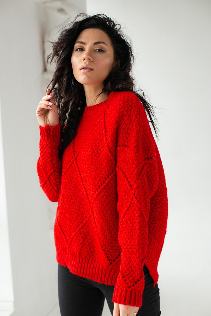 Теплый свитер крупной вязки ромбы LUREX - красный цвет