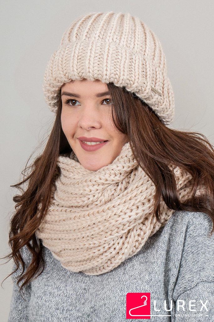 Теплая шапка объемной вязки Инфинити CASKONA - бежевый цвет