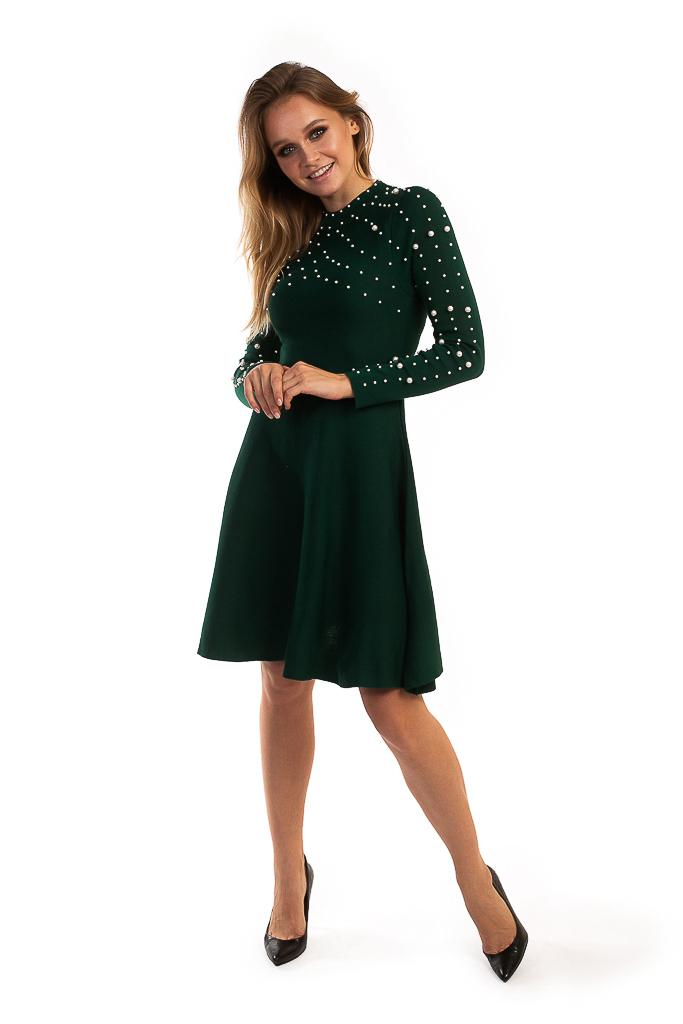 Платье с жемчужинами на груди и рукавах LUREX - зеленый цвет