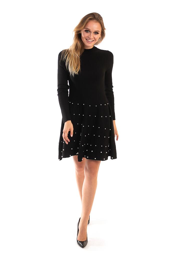 Платье с россыпью жемчужин на юбочке LUREX - черный цвет