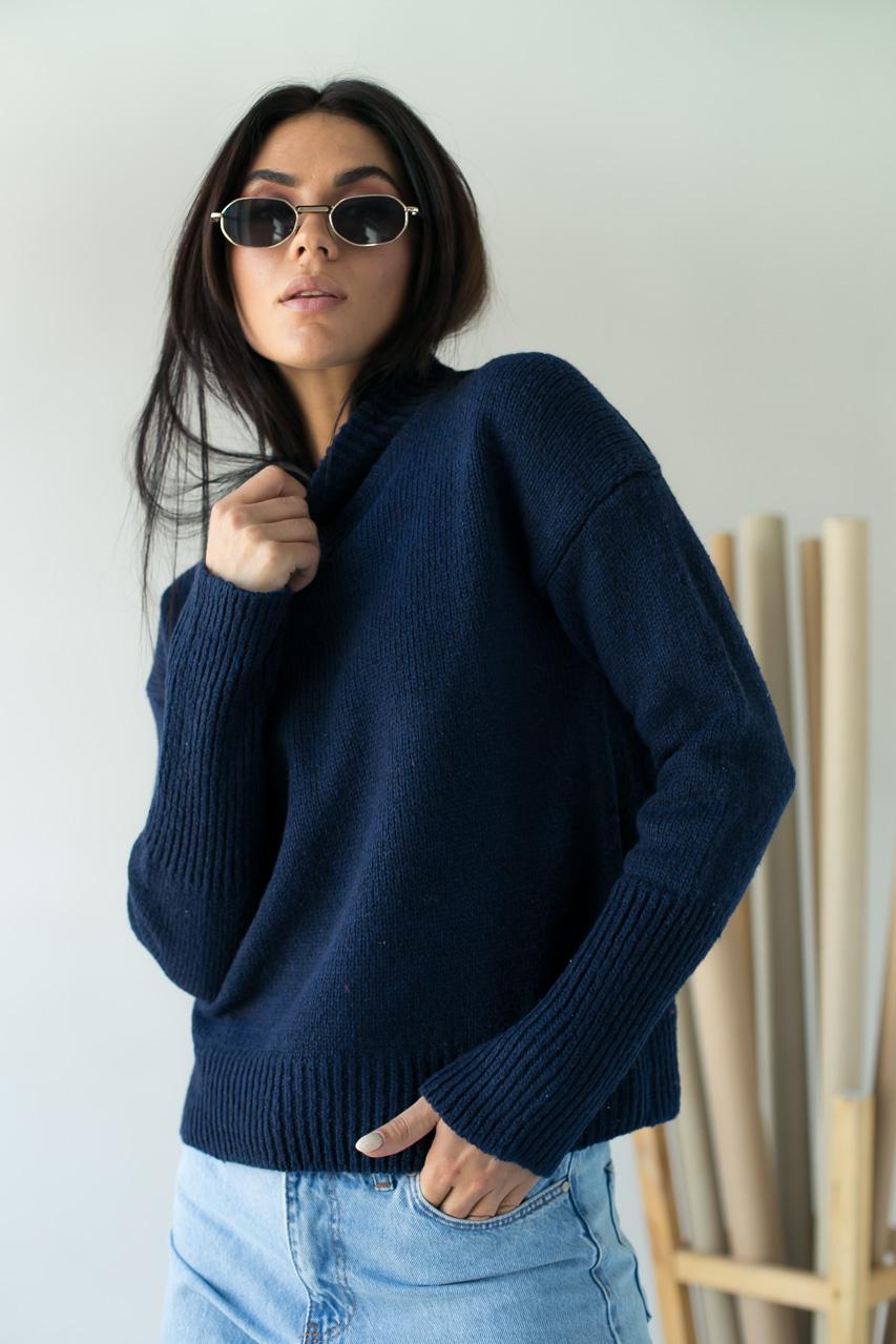 Теплая кофта с широкими манжетами LUREX - синий цвет