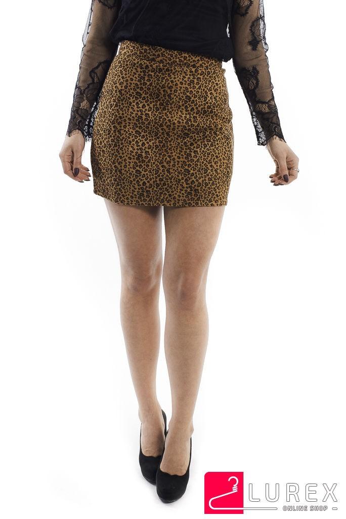Леопардовая юбка-шортики из замши LUREX - коричневый цвет