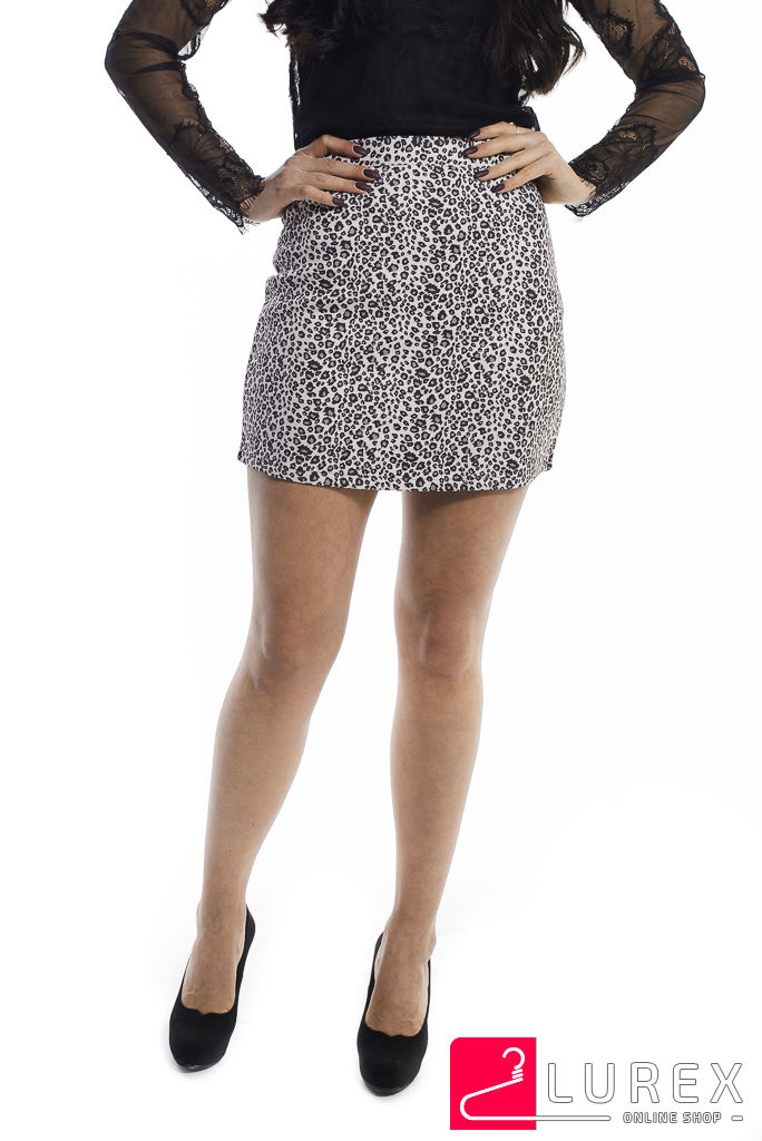 Леопардовая юбка-шортики из замши LUREX - молочный цвет