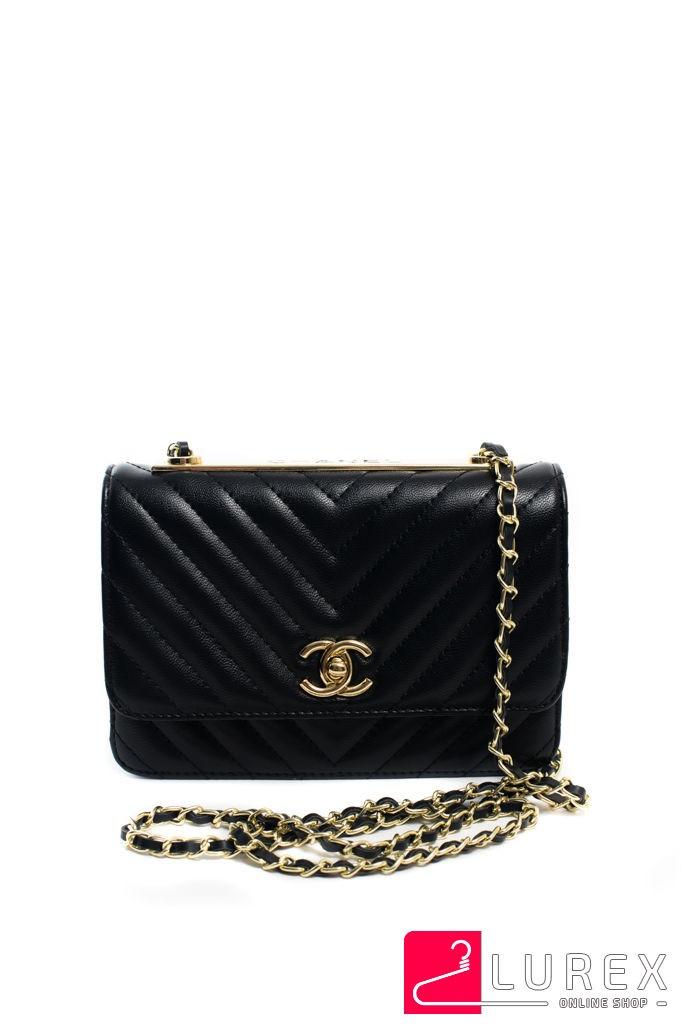 296625deb083 Черная Сумочка-клатч Chanel (vip-копия) с Ремнем Цепочкой — в ...