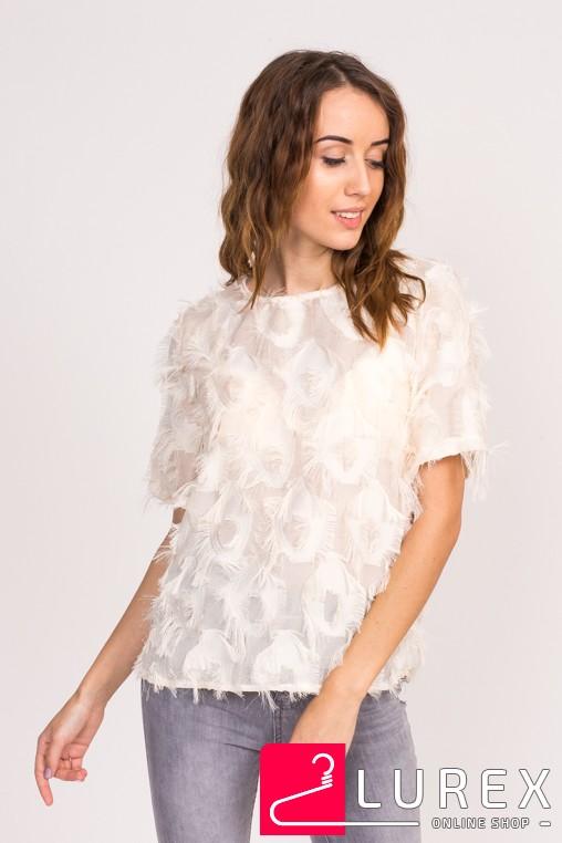 Стильная блузка с имитацией перьев LUREX - бежевый цвет