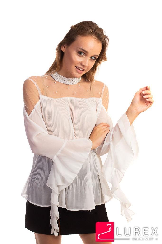 Шифоновая блуза в плиссе Hello Kiss! - белый цвет