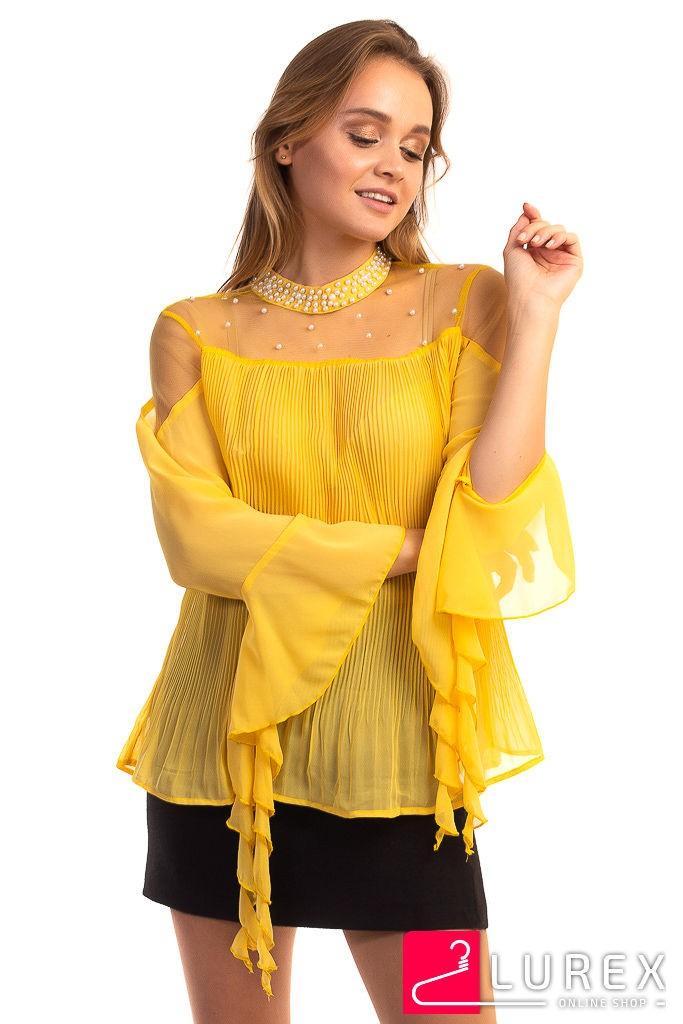 Шифоновая блуза в плиссе Hello Kiss! - желтый цвет