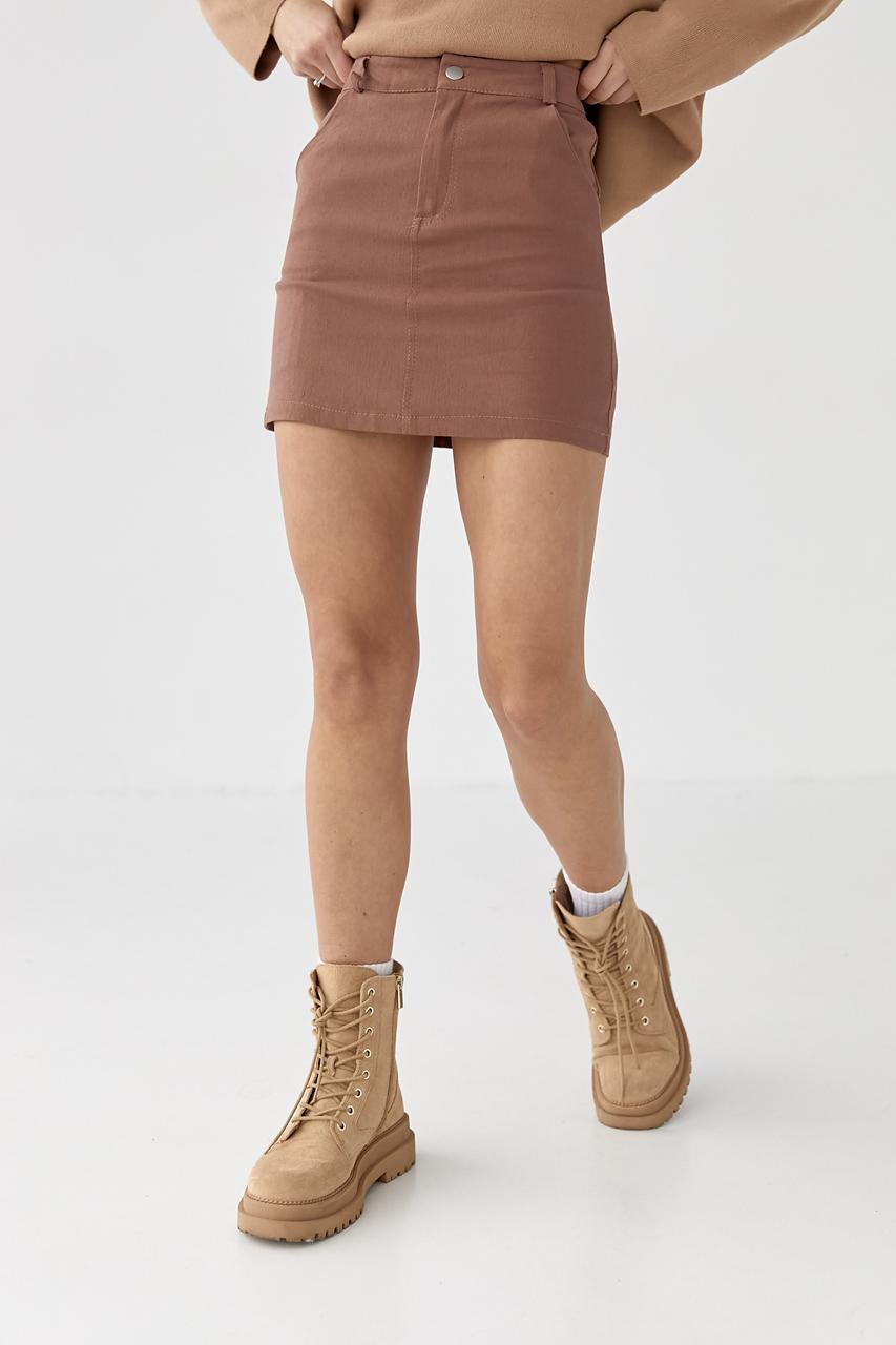 Стильная юбка с пояском LUREX - коричневый цвет