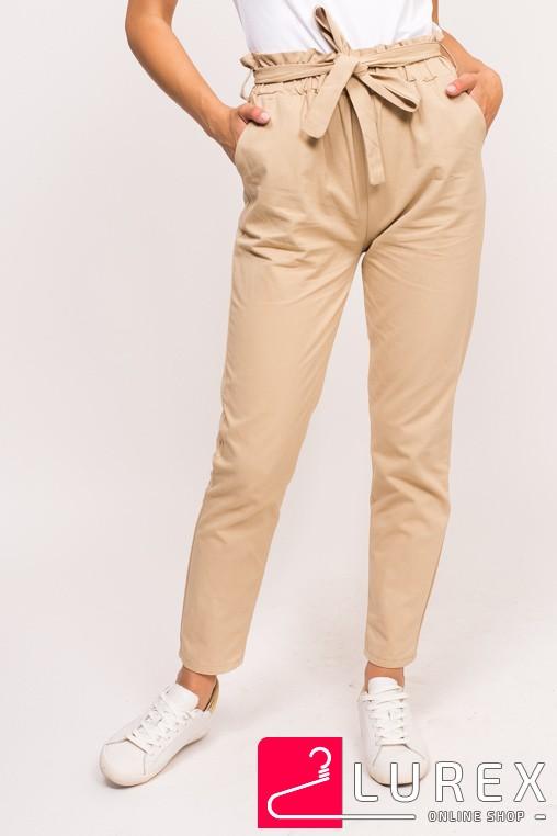 Стильные штаны с широкой резинкой LUREX - бежевый цвет