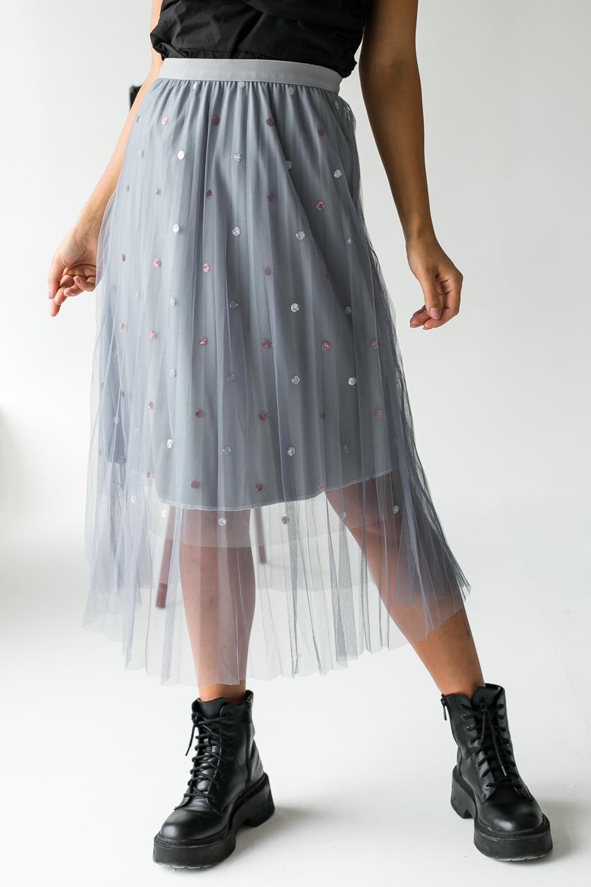 Фатиновая юбка с блестками LUREX - серый цвет