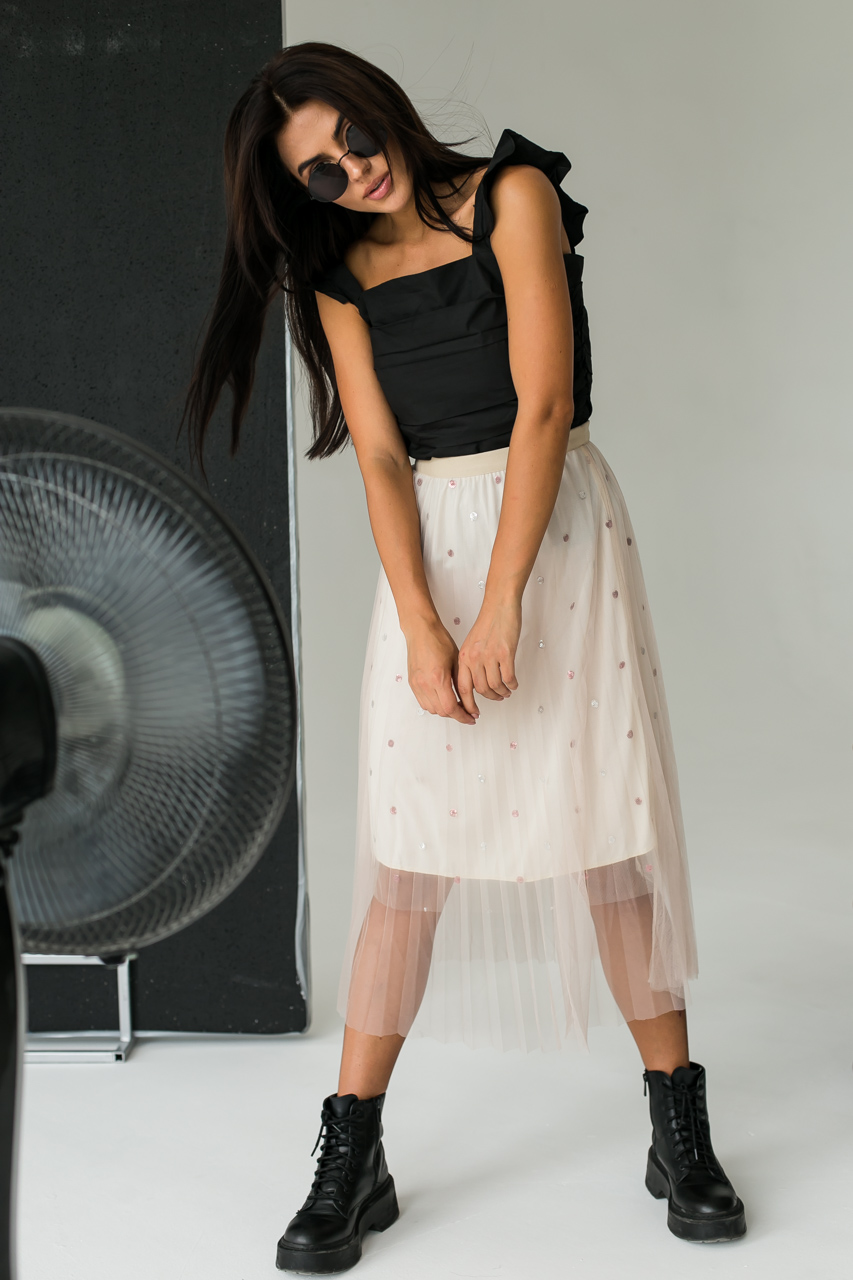 Фатиновая юбка с блестками LUREX - кофейный цвет