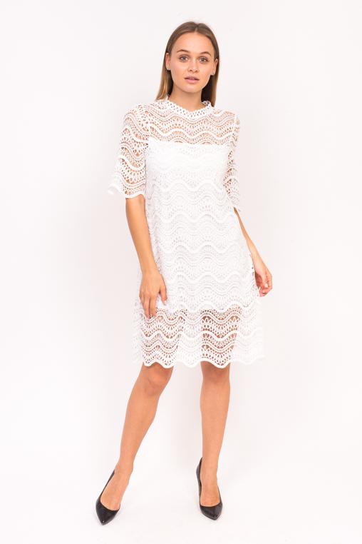 Милое гипюровое платье Emry - белый цвет