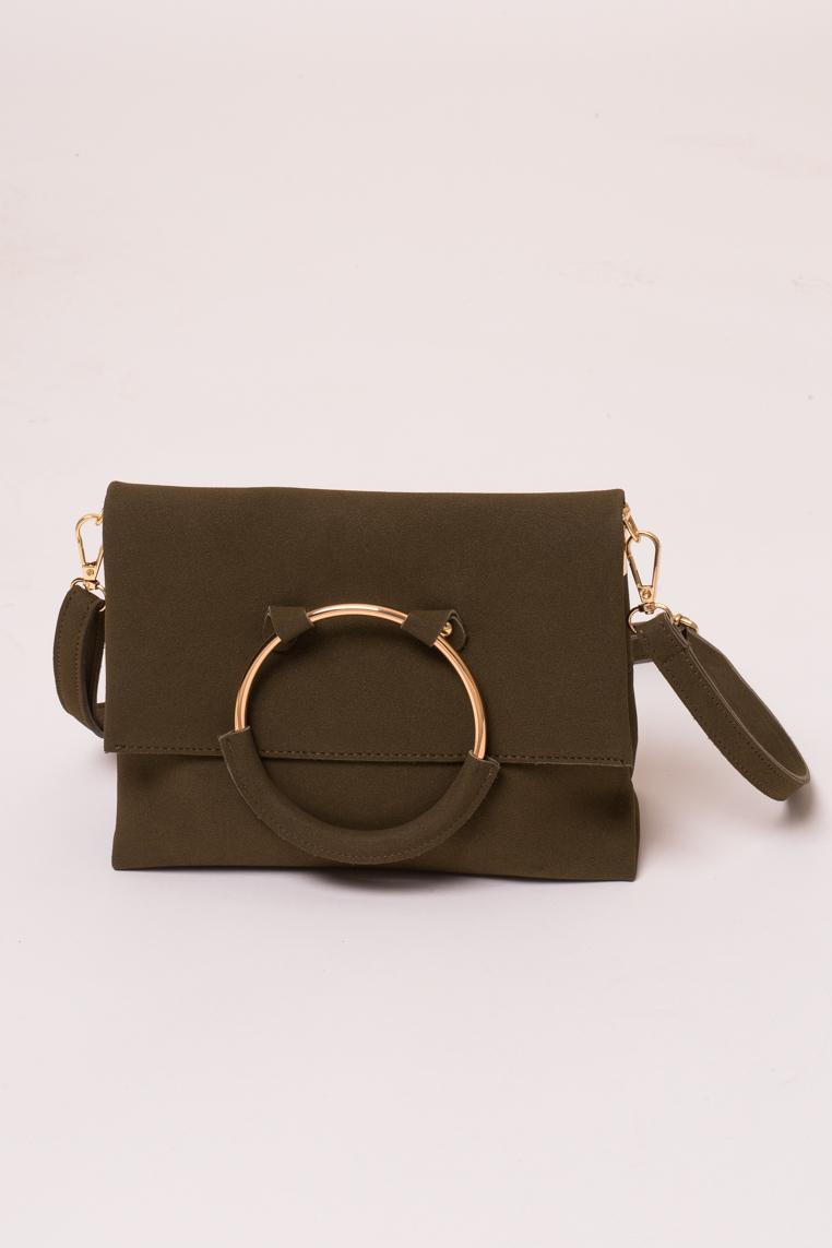 Женская сумка с ручкой кольцом LUREX - хаки цвет