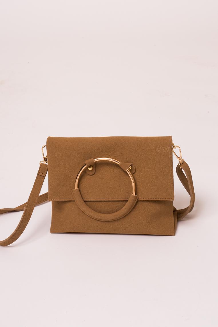 Женская сумка с ручкой кольцом LUREX - св-коричн цвет