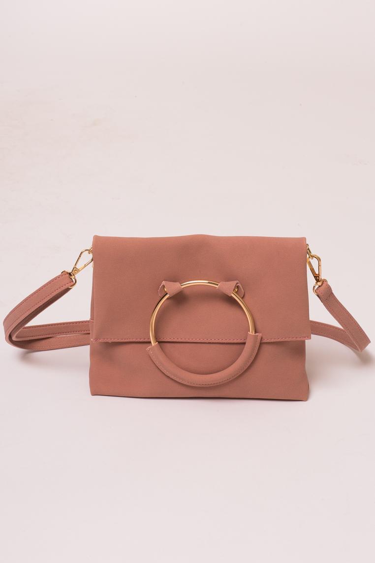 Женская сумка с ручкой кольцом LUREX - пудра цвет