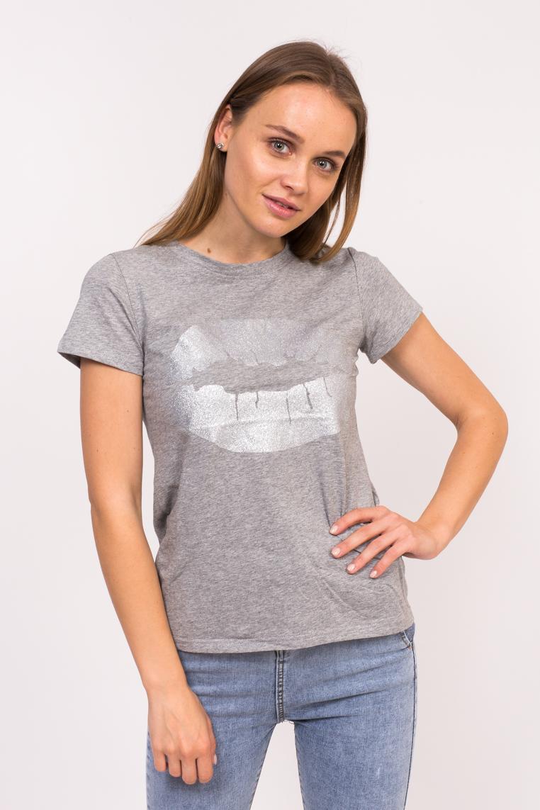 Молодежная футболка с принтом губ Xuannuo - серый цвет