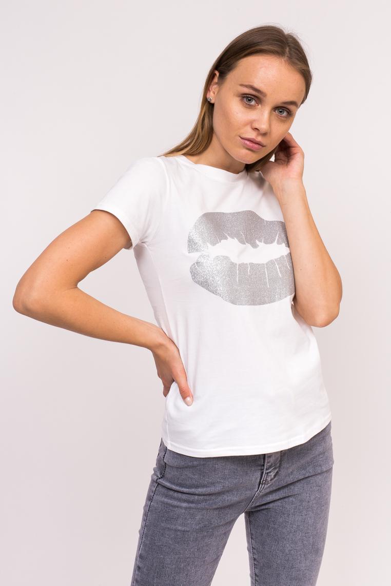 Молодежная футболка с принтом губ Xuannuo - белый цвет